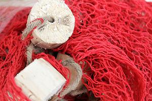 rete da pesca decorativa rossa con sugheri arredo mare