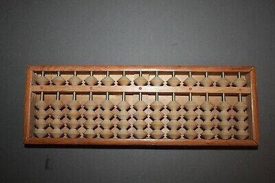 VINTAGE 13 ROW 65 BEAD LIGHT WOOD BOX ABACUS
