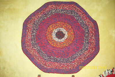 """Large 46"""" Round Hand Crafted Crocheted Throw Rug Navy Red """"It's a Beauty"""""""