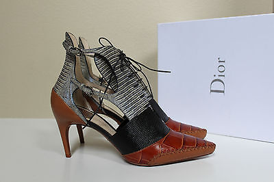 New sz 10.5 / 41 Christian Dior Embossed Leather Nomade Lace up Ankle Pump Shoes