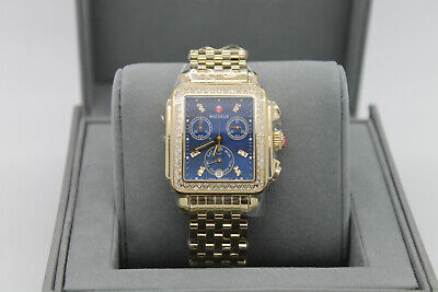 New Michele Deco Signature Blue Dial Gold-Tone Womens Diamond Watch MWW06P000288 Signature Deco Diamond
