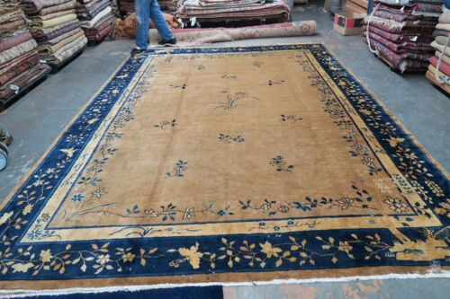 Antique Art Deco Peking Chinese Rug Hand Knotted Wool 9