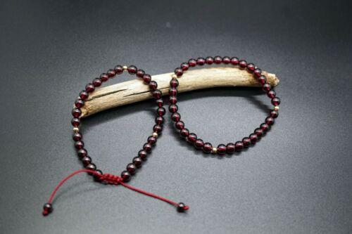 Genuine Garnet Beaded Bracelet Plain Round Almandine Garnet 5mm Red Garnet