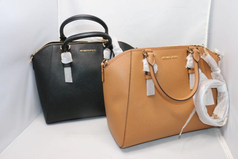 b7849db844cfb Michael Kors Ciara Large Saffiano Leather Satchel   Bag - Black ...