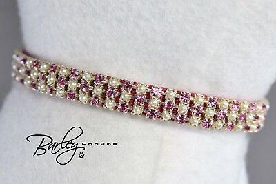 (Pink Princess Rhinestone & Pearl Dog Cat Collar - 3 Row Swarovski® 3/8