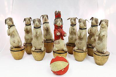 Steiff Pre-Button Era Nine Pin Pointer Skittle Set German Bowling Game 1900's