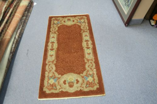 Vintage Mid Century Art Deco Chinese Hand Knotted Wool Rug Mat 2