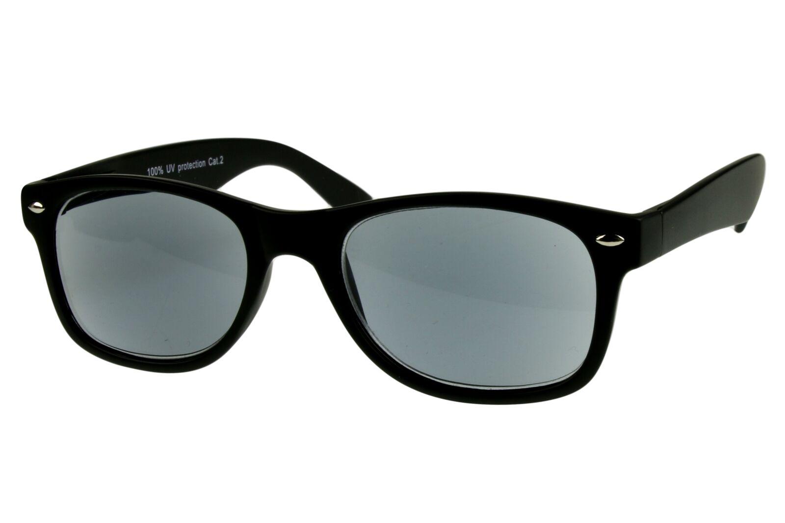 Lesesonnenbrille alle Dioptrien für Damen Herren schwarz mit Federbügel