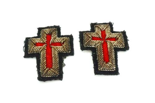 Vintage WWII 1940s Masonic Knights Templar Cross Bullion Patch Set