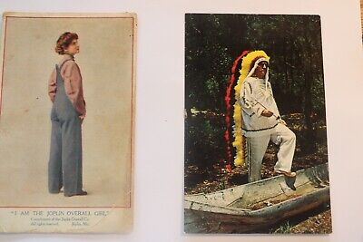 2 Vintage PC's Advertising Joplin Overall Girl & Chief Mayoki, Native Am./FL