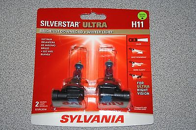 Sylvania Silverstar ULTRA  H11 Pair Set High Performance Headlight 2 Bulbs NEW