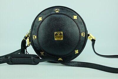 100% Authentic MCM Black Leather Tambourine Crossbody Bag