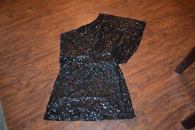 B32- Jessica Simpson Black Sequin One Shoulder Dress Size