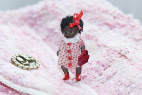 "Grace,  tiny 1.5""  OOAK  handmade miniature ethnic black dolls house doll 1:24"