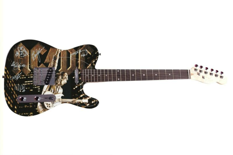AC/DC Autographed Signed Custom Graphics Guitar