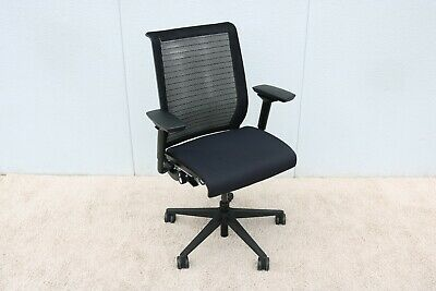 Steelcase Adjustable Ergonomic Executive Black Think Chair In 3d Knit Fabric