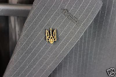 Ukraine Ukrainian Lapel Pin Tryzub Trident Coat of Arms Metal Golden Color