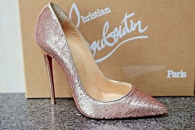 NIB Christian Louboutin SO KATE 120 Paillette Sirene Nude Sequins Pumps Shoes 36