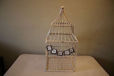 Decorative Tan Metal Shabby Chic Garden Home Decor Bird Cage