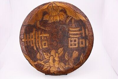 Antique Vtg Carved Wood Pyrography Asian Oriental Bowl Signed BP Feb 14 1908