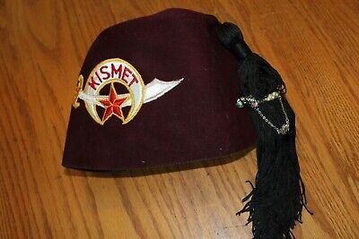 Masonic Shriners Kismet Fez Hat Vintage With Tassel By Gemsco NY w/ sword pin
