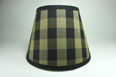 Country Primitive Black Buffalo Large Check Homespun Fabric Lampshade Lamp Shade