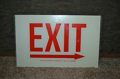 Never Used Western Lighting Exit Right Arrow Sign Replacement Glass 12 X 7 12