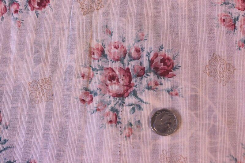 "French Antique Pink Rose Fine Linen Batiste/Lawn Fabric~15""LX25""W~Dolls,Design"