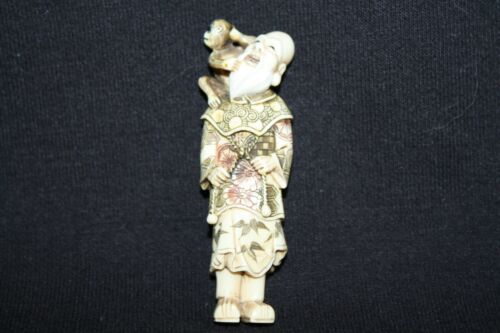NETSUKE WISE OLD MAN WITH PET MONKEY FIGURINE