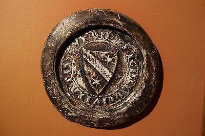 groß antik Siegel Abguß ( Wappen mit Stern, Petschaft Mittelalter )