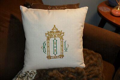 Pagoda Custom Monogram Chinoiserie/ Hollywood Regency Pillow -Linen- 16X16- New - Monogramed Pillows