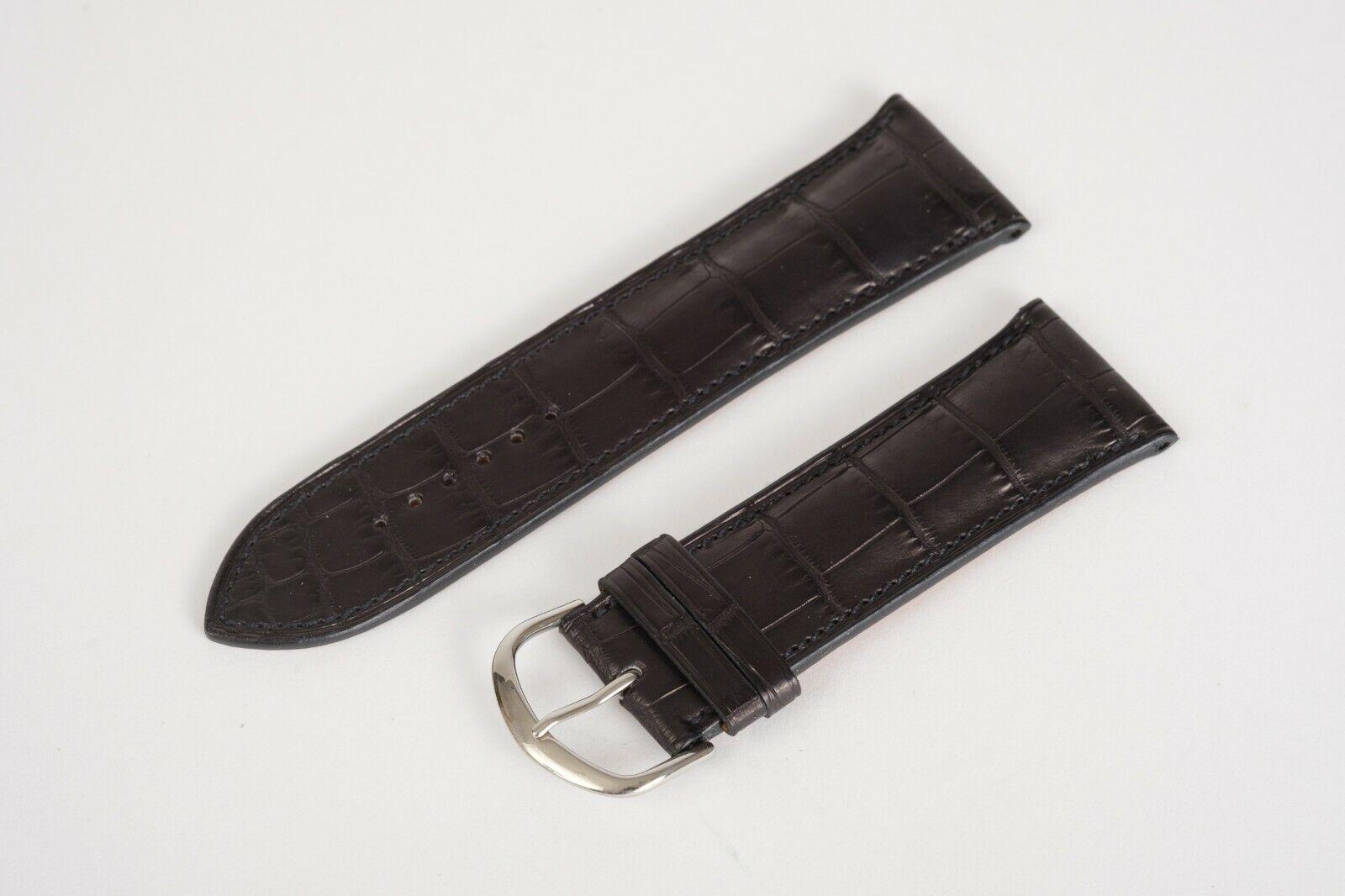 New Hermes Parmigiani Fleurier Matte Black Alligator Strap 25mm 22mm 11575