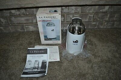 Rare La Pavoni Glossy White Pa-mill Model Coffee Mill Grinder 10 Cup Mint Cond