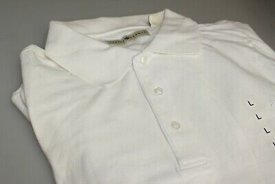 """Men's 100% Pima Cotton Golf Polo Shirt Plain White Large Chest 42/44"""" J Abboud"""