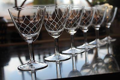 6 Alte Weingläser Handgeschliffen 50er Jahre Vintage Crystal