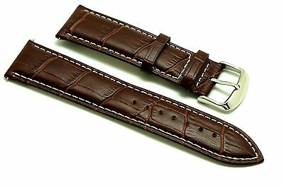 22mm Brown Alligator Grain Leather Watch Replacement Strap - Guess Fossil 22