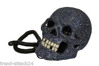 Totenkopf Telefon Schädel Skull Phone Diamond blue