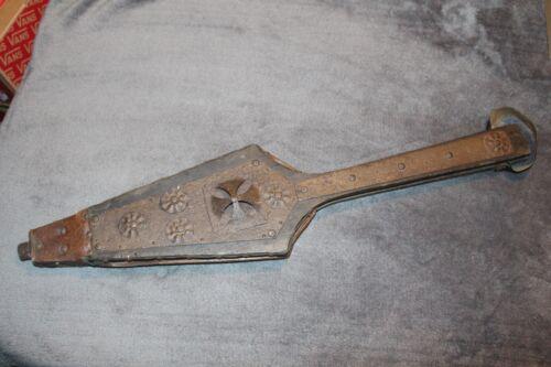 Rare Antique European Fireplace Bellows Wood Leather Metal Iron Cross Design