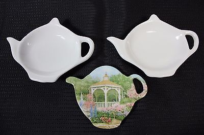 Nice Lot of 3 Teapot Shapes Tea Bag Holders Ceramic Porcelain and Plastic Italy!