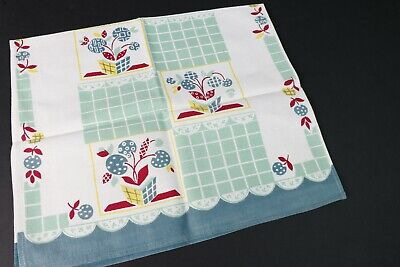 Vintage 50's NWOT Cannon Kitchen Dish Tea Towels Red Cotton Linen USA MADE