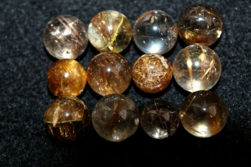 12 NATURAL copper hair RUTILATED QUARTZ CRYSTAL sphere ball healing A95