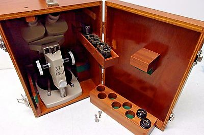 Vickers Stereo Microscope 1.25x 3.5x 10x With 7x Eyepieces In Wooden Biox