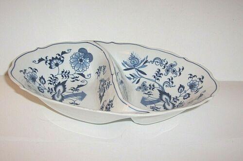 Vintage Blue Danube Oval Divided Veggie Serving Bowl Onion Pattern