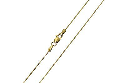 14K Real Yellow Gold 0.7mm Round Snake Chain Necklace - 16 Inches 14k Gold Round Snake Chain