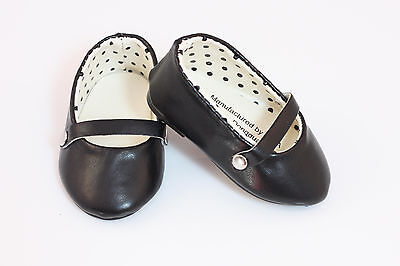 Black Mary Janes T-Strap Shoes made for 18