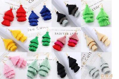 Fashion Charm Crystal Silk Tassel 3 Layers Fan Fringe Dangle Earrings -