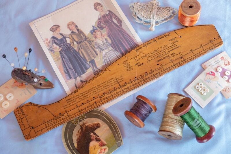 Victorian Wooden Dressmaking Pattern Guide Tailor Tool
