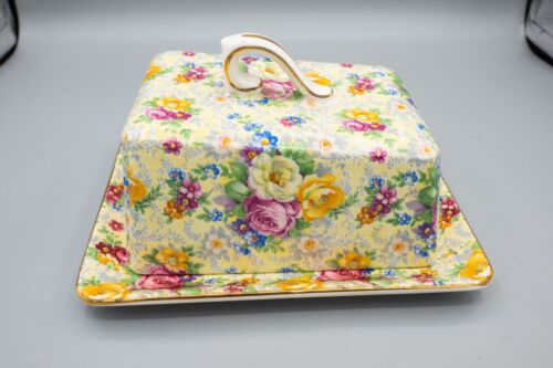 Lord Nelson Rose Time Covered Cheese Dome Butter Dish & Lid Chintz FREE USA SHIP