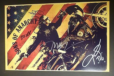 Sons Of Anarchy Cast X4  Authentic Hand Signed 11X17 Photo  Ryan Hurst  Proof