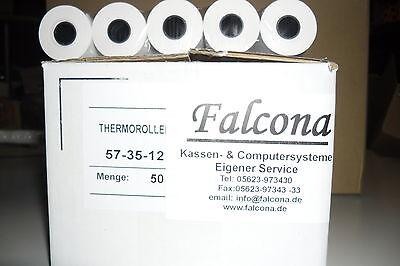 EC-Cash Rollen 57/ 35mm /12 14m Länge Thermorollen 50 Stück mit Lastschrifttext